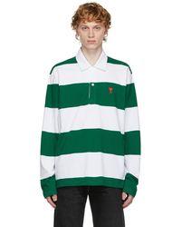 AMI グリーン & ホワイト ボーダー Ami De Cœur ロング スリーブ ポロシャツ