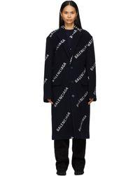 Balenciaga ネイビー ロゴ ボクシー コート - ブルー