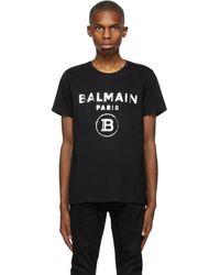 Balmain - ブラック ロゴ T シャツ - Lyst