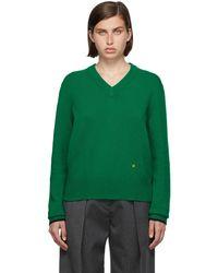Victoria Beckham グリーン カシミア V ネック セーター