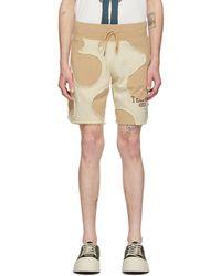 Telfar Khaki And Off-white Camo Cut-off Sweat Shorts - Natural