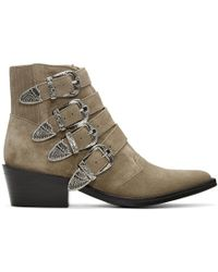 Toga Pulla - Khaki Suede Four-buckle Western Boots - Lyst