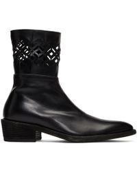 Haider Ackermann Black Laser Cut Cowboy Boots