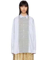 Comme des Garçons - White And Blue Striped Panelled Shirt - Lyst