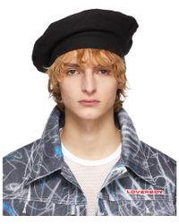 Charles Jeffrey LOVERBOY Black Wool Beret