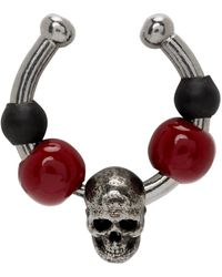 Alexander McQueen - Silver And Red Beaded Single Ear Cuff - Lyst