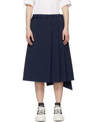 Y-3 - ネイビー Stretch スカート - Lyst