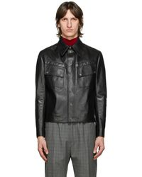 Givenchy ブラック レザー ビンテージ フィット ジャケット