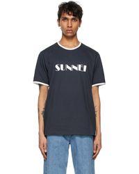 Sunnei - ブルー & ホワイト ロゴ T シャツ - Lyst