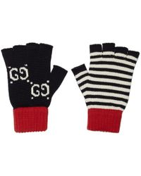 Gucci Navy And Red Striped GG Gloves - Blue