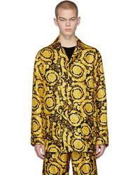 Versace - ブラック And イエロー シルク Barocco パジャマ シャツ - Lyst