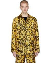 Versace Black And Yellow Silk Barocco Pyjama Shirt
