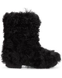 Saint Laurent - Bottes noires Furry - Lyst