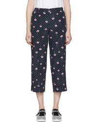 Miu Miu - Pantalon fleuri a pois bleu marine Pyjama - Lyst