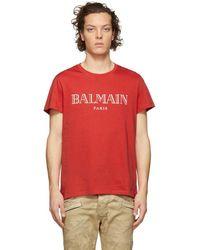 Balmain T-shirt a logo rouge