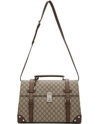 Gucci Brown Medium GG Briefcase Duffle Bag