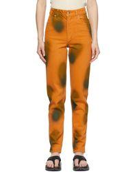 Eckhaus Latta Orange Echo Dot Tapered El Jeans