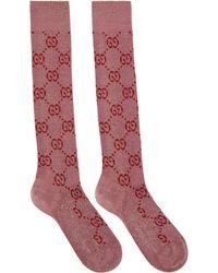 Gucci Pink Crystal GG Supreme Socks