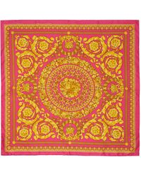 Versace - ピンク & ゴールド Barocco スカーフ - Lyst