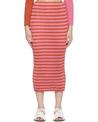 Issey Miyake Pink Striped Spongy Skirt - Red