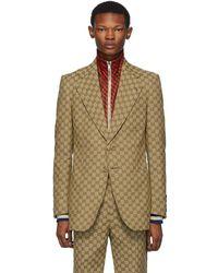 Gucci Beige GG Blazer - Natural