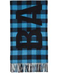 Balenciaga ブルー And ブラック チェック ロゴ オーバーサイズ マフラー