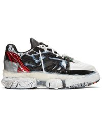 Maison Margiela Red, Black And White Fusion Reconstructed Sneakers