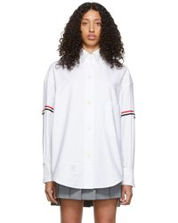 Thom Browne White Armband Supersized Cropped Shirt