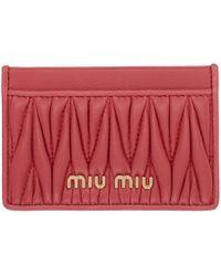 Miu Miu ピンク キルト ロゴ カード ホルダー - レッド