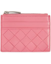 Bottega Veneta ピンク トップ ジップ カード ケース