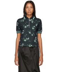 KENZO - Navy Floral Zip Polo - Lyst