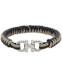 Ferragamo Gancini Woven Leather Bracelet - Grey