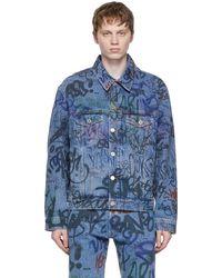 Vetements - Blue Denim Graffiti Jacket - Lyst