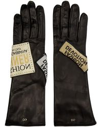 Dolce & Gabbana - Black Fashion Devotion Tag Gloves - Lyst