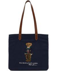 Polo Ralph Lauren ネイビー Polo Bear トート - ブルー