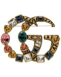Gucci Gold Marmont Brooch - Metallic