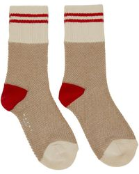 Marni Beige & Red Striped Socks - Natural