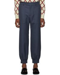 Gucci Blue Drill Patch Pocket Military Pants