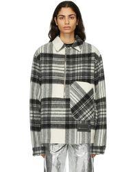 we11done - Grey Wool Plaid Anorak Jacket - Lyst