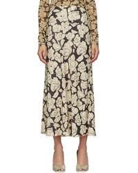 Nanushka Brown & Beige Rezi Mid-length Skirt - Natural