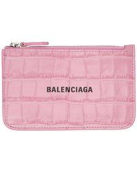 Balenciaga ピンク クロコ Cash ジップ カード ケース