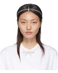 Miu Miu Silver And Blue Crystal Hairband