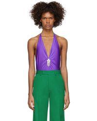 Gucci Purple V-neck Bodysuit