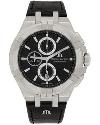 Maurice Lacroix シルバー & ブラック Aikon 44mm クロノグラフ 腕時計 - メタリック