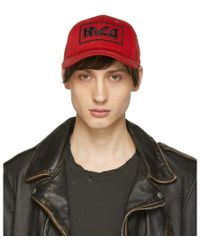 McQ - Red Embroidered Metal Logo Cap - Lyst