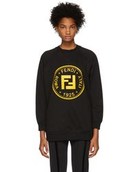Fendi - Black Sequin And Crystal Roma Sweatshirt - Lyst