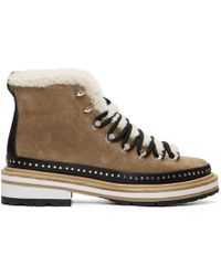 Rag & Bone - Tan Suede And Shearling Compass Boots - Lyst