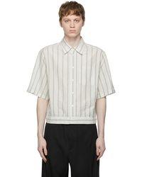 Lanvin ブルー & ホワイト ストライプ Blouson シャツ