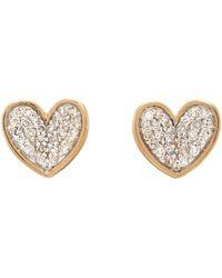 Adina Reyter Tiny Pave Folded Heart Earrings - Metallic