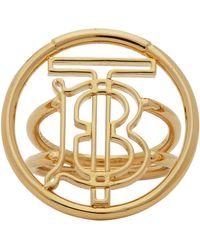 Burberry Gold Large Monogram Motif Ring - Metallic